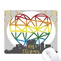 レインボーゲイとレズビアンのモデリング・ハート クリスマスイブのゴムマウスパッド