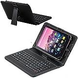 Navitech Schwarz bycast Leder Stand mit deutschem QWERTZ Keyboard mit Micro USB für das XIDO 10.1' Tablet PC