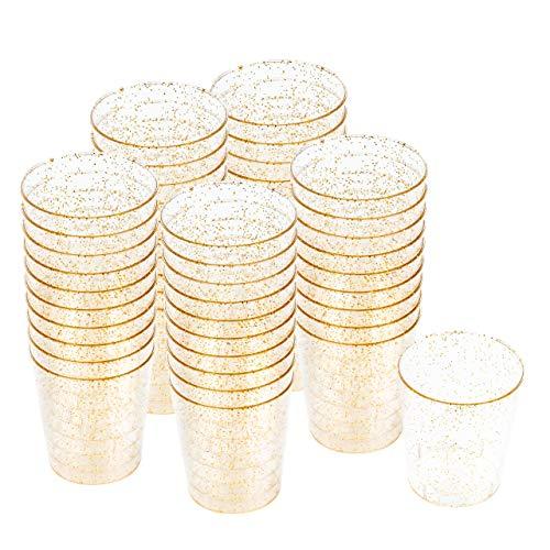 100 Vasos de Chupito Multi-Uso de Plástico Duro con Elegante Brillo D