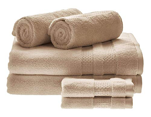 Price comparison product image iDesign Set of 6 Towels for Main or Guest Bathroom,  Soft Bath Towels Set Made of 100 Percent Cotton,  Towel Set with 2 Hand Towels,  2 Bath Towels and 2 Face Cloths,  Beige