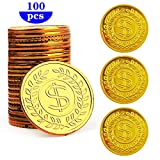 HuiYouHui Pirate Gold Coins Plastic Set of 100,Play Gold Treasure Coins for Play...