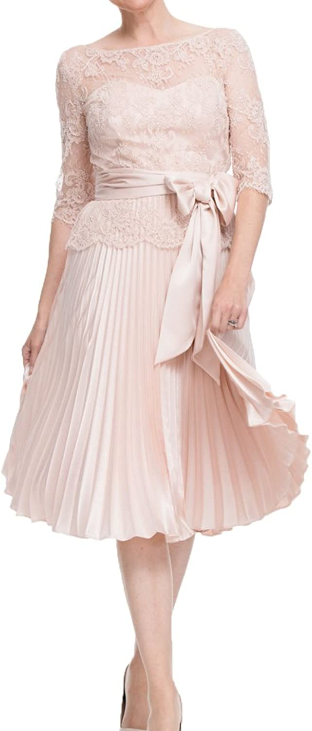 ShineGown Women Nude Pink Lace Folding Dress with Satin Sash Knee Length Plus Size for Prom