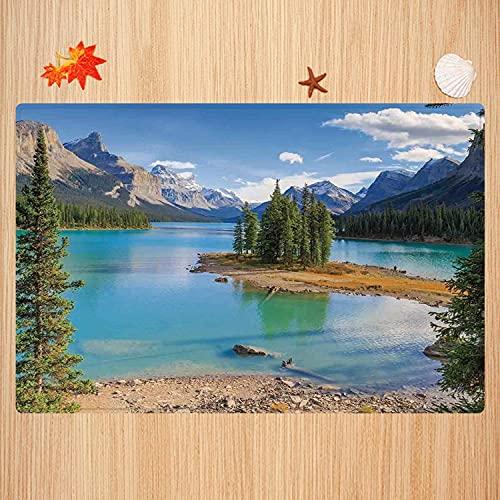Alfombra de baño Antideslizante,Decoración del Lago, Lago Maligne en Jasper Natioanal Park Alberta Canada Summer Day Outdoor Pict Apto para Cocina, salón, Ducha (40x60cm)