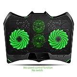 Refroidisseur pour Ordinateur Batman Shape Laptop Cooler 4 Ventilateurs de calme et écran LCD |1400rpm fort vent conçu for les joueurs et le bureau Ventilateur Support PC Portable ( Color : Green B )