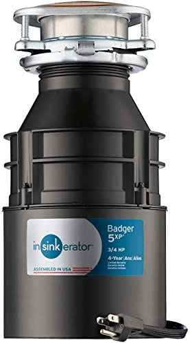 InSinkErator Garbage Disposal with Cord, Badger 5XP, 3/4 HP Continuous Feed