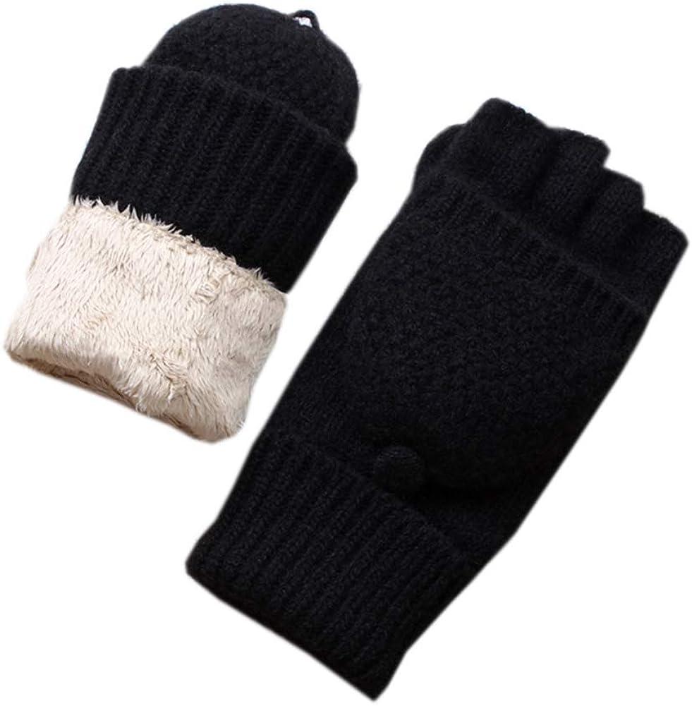 Winter Soft Women Wool Knitted Gloves Thickened Convertible Fingerless Gloves Women Warm Gloves