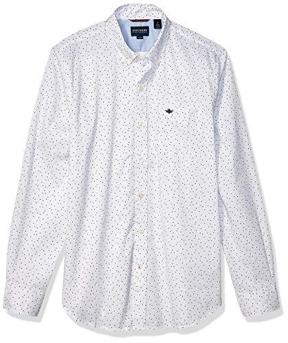 dockers Herren Long Sleeve Front Comfort Flex Shirt Button Down Hemd, Landers Papier Weiß, Klein