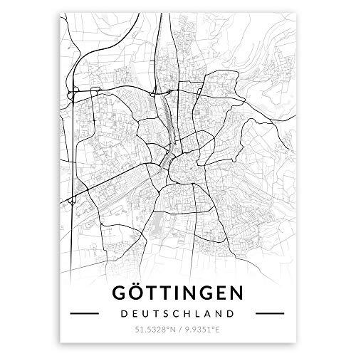 Murrano Metal Poster Metallbild Metallposter - Städte - Poster Stadt - mithilfe eines Magnets montiert - schwarz-weiß - Göttingen - 67 x 48 cm
