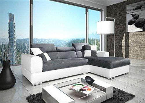 tendencio Canapé d'angle NETO/Madrid Design en Microfibre et Simili Cuir Gris et Blanc
