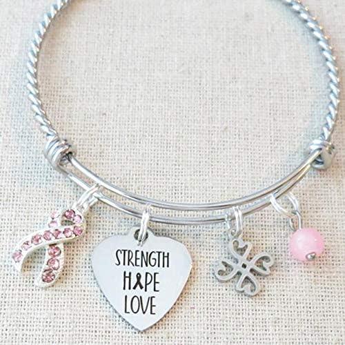 Breast Cancer Awareness Bracelet STRENGTH HOPE LOVE Awareness Bracelet Cancer Encouragement product image