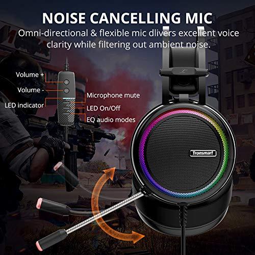 Gaming Kopfhörer für PC, Aufgerüstet Tronsmart Glary Dolby 7.1 Surround Sound USB Stecker Gaming Headset mit Mikrofon, Rauschunterdrückung Over Ear Kopfhörer Gaming Headset für Nintendo Switch Gamer
