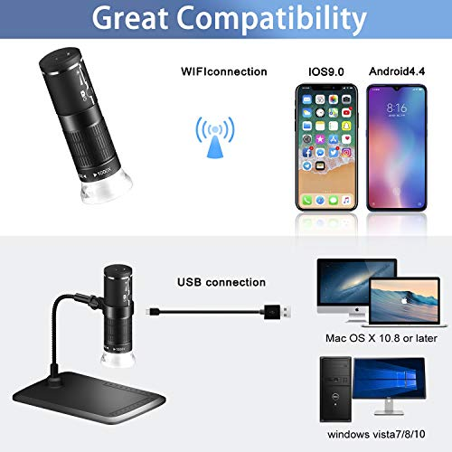 Wireless Digital Microscope 1080P HD Handheld USB Microscope Camera 50x to 1000x Magnification, 8 LED Portable Microscope Compatible with iOS Android Smartphone Windows Mac PC