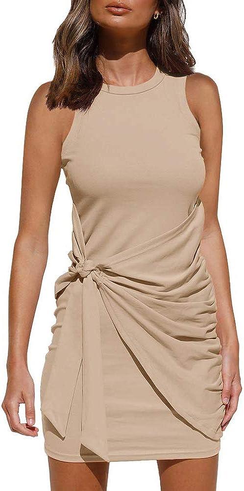IHOT Women Crew Neck Casual Sleeveless Ruched Tank Stretchy Bodycon Tie Waist Dress 2021 Short Mini Dresses