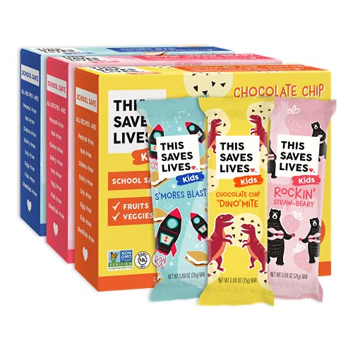 This Saves Lives Kids Chewy Granola Bars, Variety 15 Pack, Gluten Free Snack Bars, Healthy Snacks Variety Pack for Kids, Individually Wrapped, Nut Free, Non GMO, Kosher, 0.88oz Bars, 5 of Each Flavor