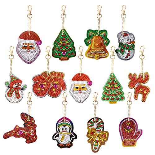 13Pack Diamond Painting Keychain Christmas DIY Diamond Painting Kits for Kids and Adult Beginners Double Sided Drill Tree Santa Claus