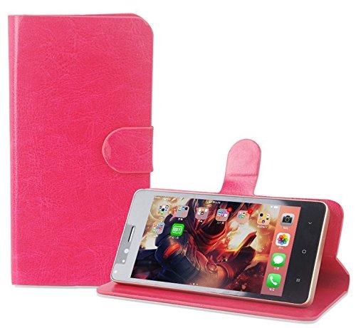 PREVOA Funda para M-Net Power 1 - Flip PU Funda Case Protictive para M-Net Power 1 Smartphone - Hotpink