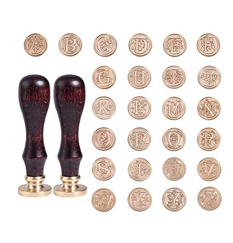PandaHall Elite Messing Retro Alphabet Initialen Wachsversiegelung Stempel, 26 Buchstaben A-Z Wachs Siegelstempel mit 2 Stück Holzgriff für Post Dekoration DIY Kartenherstellung, Golden
