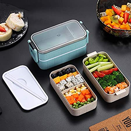 Double Layer Leakproof Bamboo Fiber Lunch Box Leakproof Bento Box Microwave Freezer Dishwasher Safe Bento Boxes for Kids School Beige Taru Eco Friendly