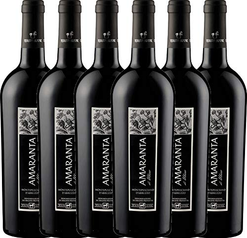VINELLO 6er Weinpaket Rotwein - AMARANTA Montepulciano d'Abruzzo DOC 2017 - Tenuta Ulisse mit Weinausgießer | trockener Rotwein | italienischer Wein aus Abruzzen | 6 x 0,75 Liter