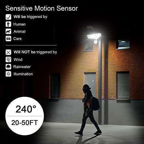 Solar Lights Outdoor, Mopha Super Bright LED Solar Motion Sensor Lights with Wide Angle Illumination; 1800LM 6500K, 3 Adjustable Heads, IP65 Waterproof Outdoor Security Flood Lights