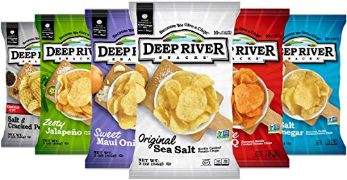 Deep River Snacks Kettle Potato Chips, Variety Pack, 2 Ounce (Pack of 24)