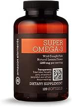 Amazon Elements Super Omega-3 with Natural Lemon Flavor - Heart, Brain, Eye Health - 120 Softgels (1280 mg per serving, 2 Softgels)