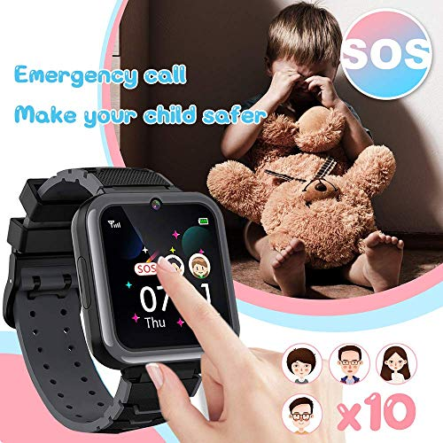 N//A Kids Smart Watch Boys Phone Camera Selfie SOS Calling Smartwatch for Kids Waterproof IPX5 Games Touch Screen Alarm Sound Recorder Music Player Calculator Flashlight 3-12 Years Old Boys and Girls