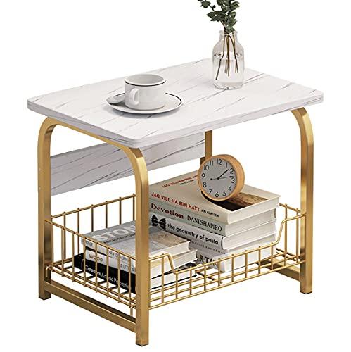 Mini Tavolino Laterale in Marmo a 2 Livelli, Tavolino Rettangolare a 2 Livelli con in Metallo,Laterale con Cestello Portaoggetti Superiore in Marmo, Tavolino Consolle in Marmo, Facile da Montare