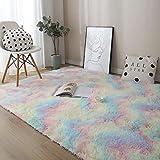 Nueva alfombra suave de felpa teñida de color arcoíris, utilizada en alfombras antideslizantes de dormitorio y sala de estar, alfombras de habitaciones infantiles