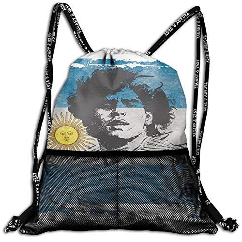 VOROY Funda con cordón para niños, mochila de gimnasio de El Pibe De Oro Fútbol, Diego Armando Maradona, mochila deportiva para niños
