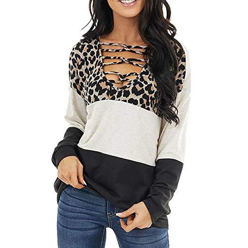 Camiseta de Leopardo para Mujer, Camiseta de Retazos de Manga Larga para Mujer, Jerseys de otoño, Camisetas y...