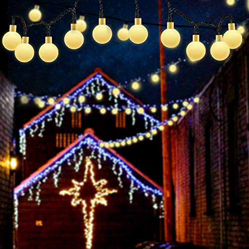 Guirnalda Luces Exterior, 9.5M 50 LED Solar Cadena de Luces, 8 Modos IP65 Impermeable, Decoración para Interior/Exterior, Navidad, Fiestas, Bodas, Patio, Jardines, Terraza, Festivales (Blanco Cálido)