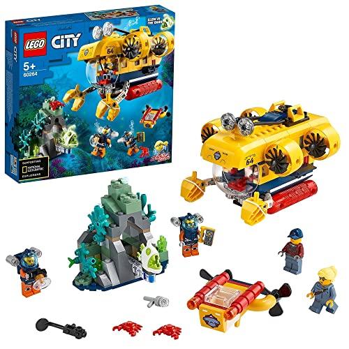 LEGO City Oceans Sottomarino da Esplorazione Oceanica, con Drone Giocattolo e Fondale, Giochi per Bambini di 5+ Anni, Set Avventure Acquatiche, 60264