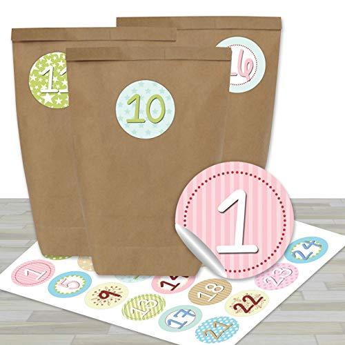 Papieren drachen DIY adventskalender set - 24 bruine cadeauzakjes en 24 kleurrijke getallenstickers - om zelf te maken en te vullen - miniset Pastel - speels