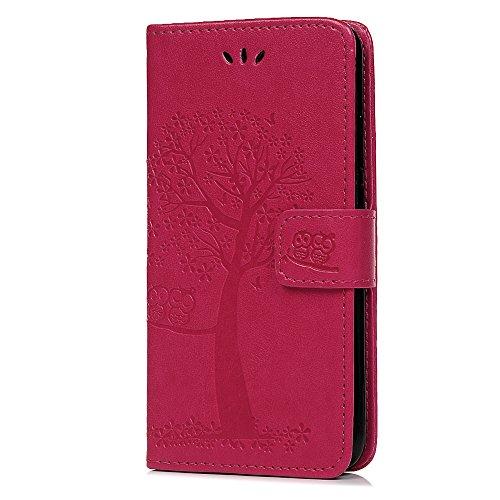 Funda para Samsung Galaxy A50 con tapa y tarjetero para Samsung Galaxy A50, de piel sintética, a prueba de golpes, diseño de búho, color rosa