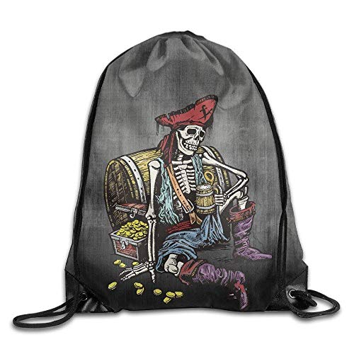 Borse da palestra Zaini Casual, Pirate Beer Gold Gym Drawstring Backpack Unisex Portable Sack Bags Fashion