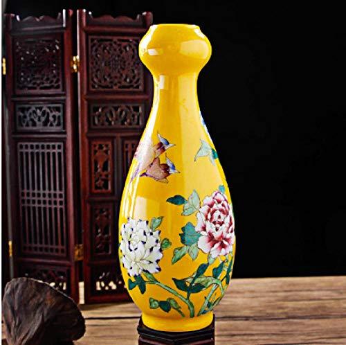 antieke gele glazuur Chinese stijl met de hand beschilderd bloem en vogel vaas huisdecoratie porselein vaas