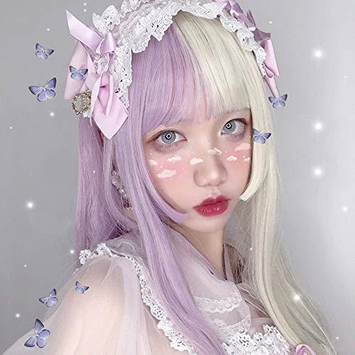 Vrouwen haar pruik Lolita 56cm Purple Potato Kleur Lang Recht Haar krullende blonde pop Bangs Fringe Hair Synthetisch Cosplay Pruik Haar stukken