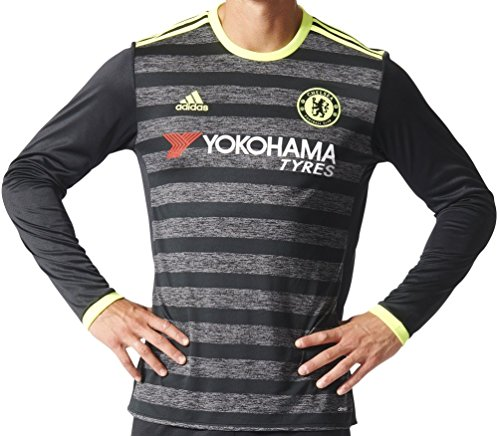 adidas Men's Chelsea Long Sleeve Away Soccer Jersey 2016/17 (Small) Black, Granite