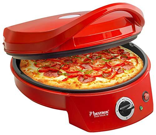 Bestron Elektrischer Grill-Pizzaofen, Viva Italia, Ober-/Unterhitze, Bis max. 180°C, 1800 Watt, Rot