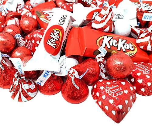 Valentine's Day Mix - Kit Kat Crisp Wafers n' Creme Miniature, Kisses Milk Chocolate, Double Crisp Hearts, Red White Wrap Candy Bulk Pack 3 lbs