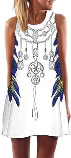 f1c741491ee TnaIolral Vintage Boho Women Summer Sleeveless Beach Printed Short Mini Dress  Beige