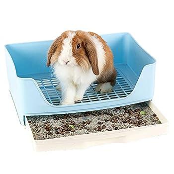 Baffect Corbeille à Papier d'angle pour Lapin Maison de Toilette d'angle, Bac à litière en Cage de Lapin de Grande Taille avec tiroir Amovible pour Petit Animal Lapin Cochon d'Inde L (Bleu)