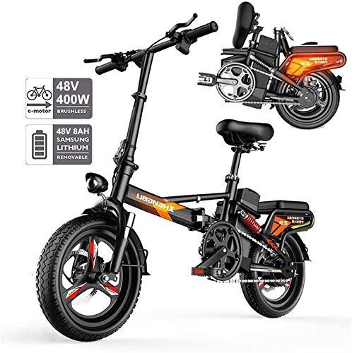 Bicicletta Elettrica, Pieghevole bici elettrica for adulti, 400W Watt motore Comfort Biciclette ibride biciclette reclinate   Road da 14 pollici pneumatici, lega di alluminio, freni a disco, for la co
