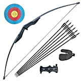 D&Q Hunting Bow and Arrow Set Adult Recurve Bows for Adults Archery Bow 51' 30lbs 40lbs Longbow Kit Target Practice Outdoor Competition Training (30 pounds)