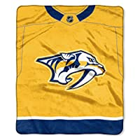 "Officially Licensed NHL Nashville Predators ""Jersey"" Plush Raschel Throw Blanket, 50"" x 60"", Multi Color"