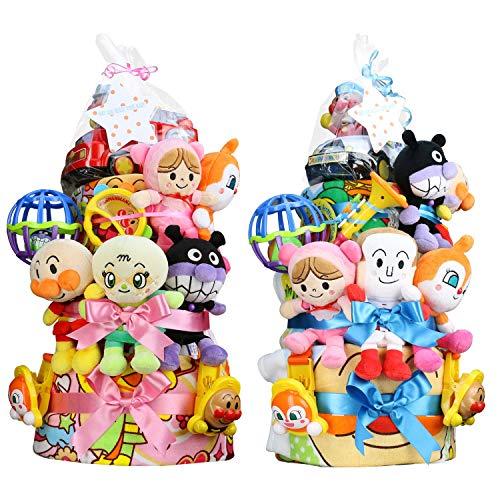 セガトイズ 出産祝い アンパンマン DX3段 おむつケーキ おもちゃ (パンパーステープタイプSサイズ, 女の子向け(ピンク系))