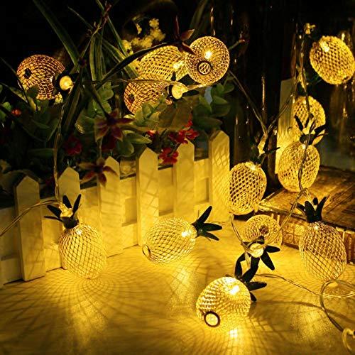 Encham LED Lichterkette Ananas 10 Deko Stimmungslichter für Party, Weihnachten, Halloween in Zimmer Schlafzimmer Balkon Weihnachtsbaum, 3 Meter (Mehrweg)