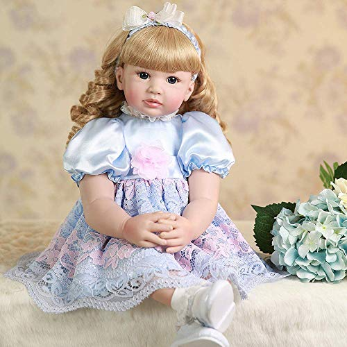 Realistic Reborn Toddler Girl Doll 24 Inch 60 cm Marilyn Real Looking Reborn Baby Doll Soft Cloth Body Blue Eyes Long Blond Curly Hair with Beautiful Princess Dress Gift Box Package Set