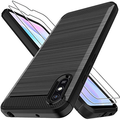 LK Hülle für Xiaomi Redmi 9A,[Anti Fingerabdruck] Flexibel Weich TPU Slim Gebürsteter Hülle Cover mit Panzerglas Folie[2 Stück] für Xiaomi Redmi 9A - Schwarz